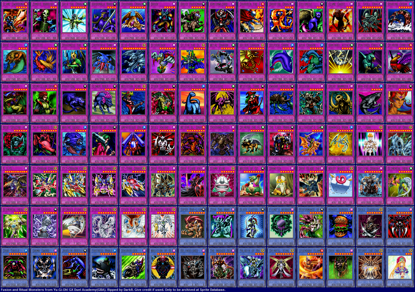 Sprite database fusion amp ritual monster cards