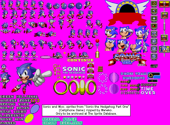 Mobile » Sonic The Hedgehog Part One » Sonic & Miscellaneous