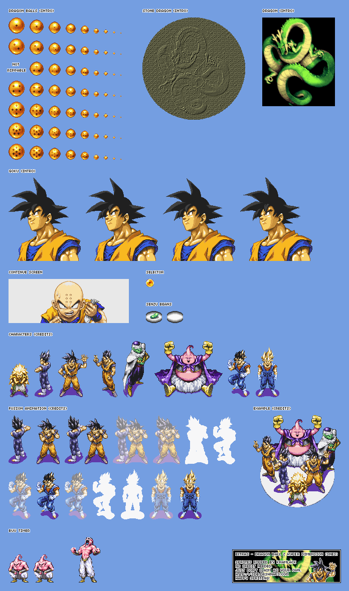 Contributed by Kramlack Dragon Ball Z Hyper Dimension Sprites